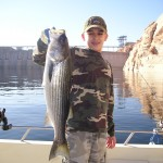 Darrel with 6# Striper caught by dam at Lake Powell